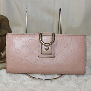 AUTH Gucci D-Ring Pink Leather Wallet
